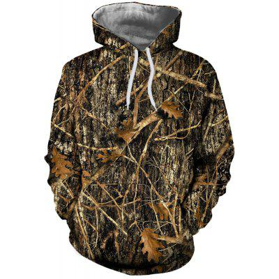 Fashion Sports Men's 3D Dead Wood Digital Printing Patch Pockets Hooded Sweater