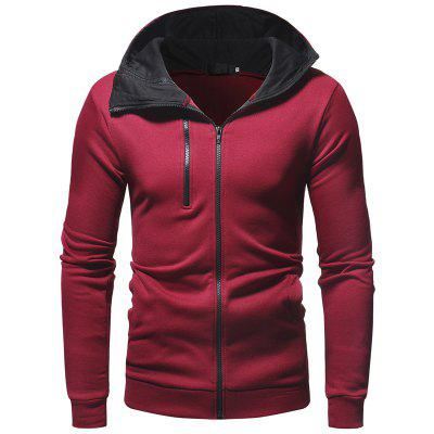 Men's Fashion One and A Half Zipper Casual Slim Hooded Cardigan Sweater