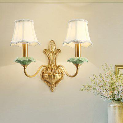 French Full Copper Ceramic Three Color Switch Dual Head Wall Lamp