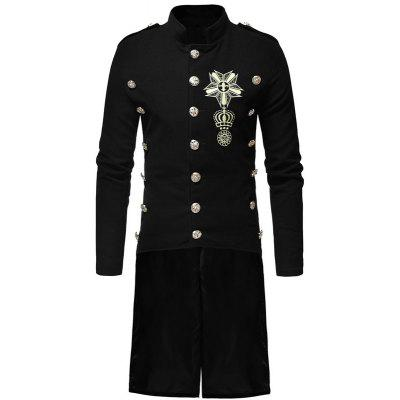 Men's Fashion Casual Collar Slim and Long Woolen Trench Coat