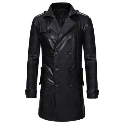 Double-breasted Large Lapel Men's Casual Slim Long Leather Trench Coat