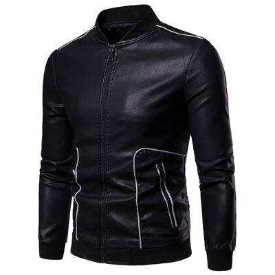 Men's Splicing Stand Collar Casual Zip Personality Leather Jacket