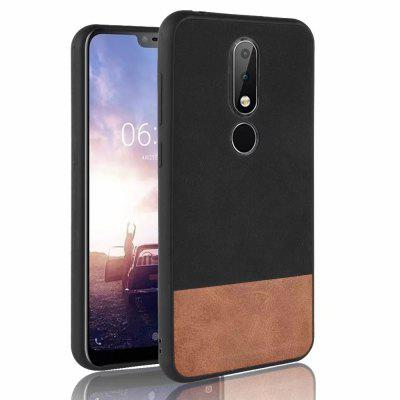 Silicone Edge Leather Fabric Shockproof Cover Case for Nokia X6 / 6.1 Plus