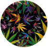 Non Slip Rubber Round  Anti-Water Black Flower Gaming Mouse Pad - MULTI