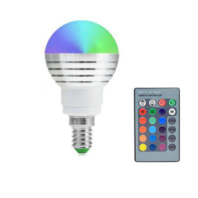E14 3W RGB LED Ball Bulb with Remote Control 16 Color Change AC85-265V