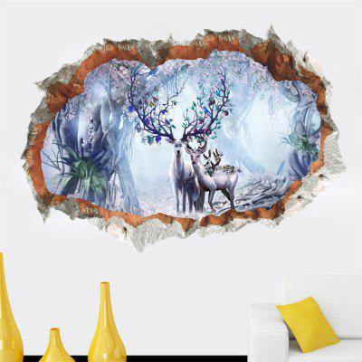 Removable 3D Sticker Sika Deer Wall Stickers Remove PVC Stickers