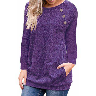 Women's Round Neck Solid Color Long Sleeve Button Pocket Casual Wild T-shirt