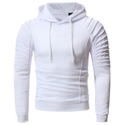 Men's Fashion Pleated Casual Slim Hooded Long Sleeve Sports Sweatshirt