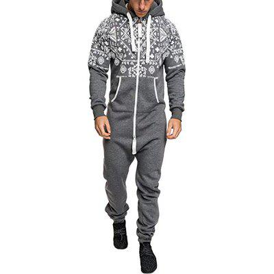 Men's Fashion Ethnic Style Print Casual Slim One-Piece Zipper Hooded Sweater