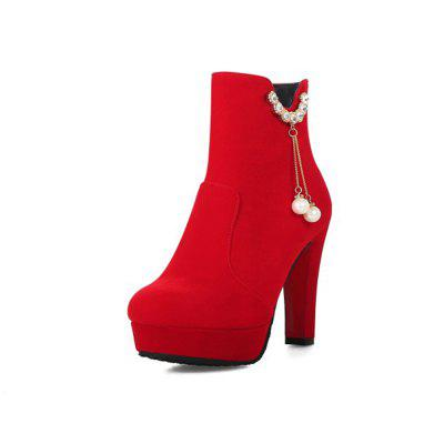 Autumn and Winter Round Head Fashion Thick with High Heel Women'S Boots