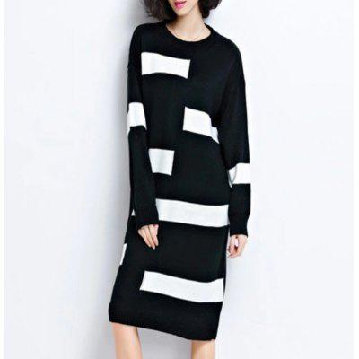 Striped Short-Sleeved Knit Dress