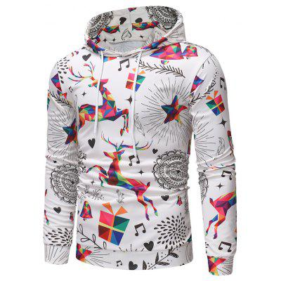 2018 Herbst und Winter New Men's Christmas Print Hooded Sweater