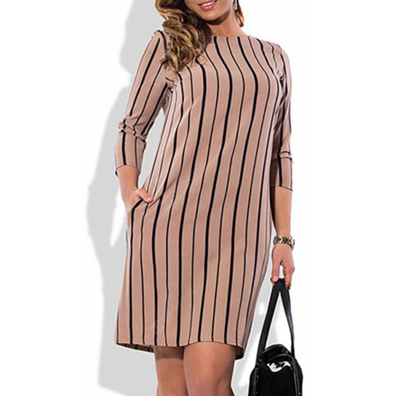 Women Fashion Plus Size Elegant Striped Dress Summer Big Size Club Dress