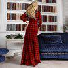 6XL Elegant Maxi Plaid Women Dress Big Size 2018 Spring Summer Plus Size Long - ROSSO