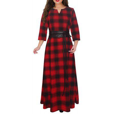 2018 New Red Plaid Long Dress Plus Size 5XL 6XL Women Winter Dress Big Size Maxi