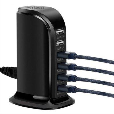 6 Port 30W Charging Station Support USB Charger Power Adapter