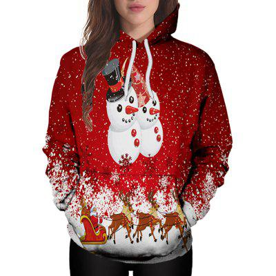 3D Winter Sports Christmas Doll Print Lady Hoodie