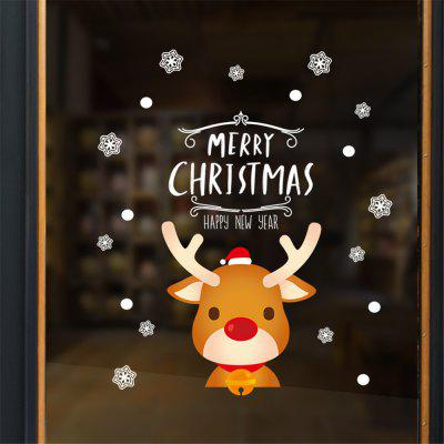 Lovely Reindeer Snowflake Christmas Decorating Window Glass Sticker Home Decal