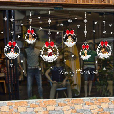 Christmas Wall Sticker Non-Glue Static Merry Christmas Cute DIY Showcase Sticker