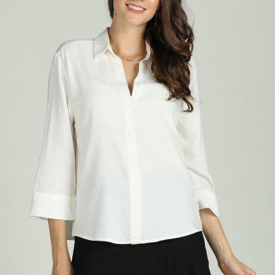 SBETRO Female Shirt Single-breasted White 3/4 Sleeve Officewear