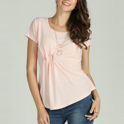 SBETRO Female Solid Shirt Pleated Asymmetrical O Neck Short Sleeve Top Casual