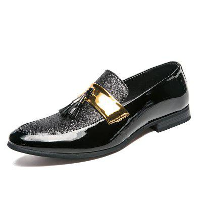 Men Set Foot Night Club Party Show Large Size Pointed Leather Casual Shoes