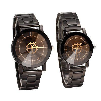 Fashion Compass Turntable Pointer Steel Band Couples Watch