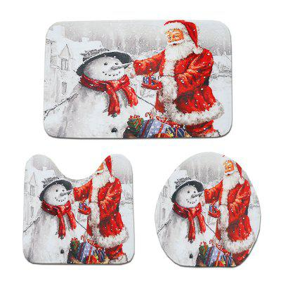 Cartoon Christmas Decoration Carpet Three-Piece Suit Set