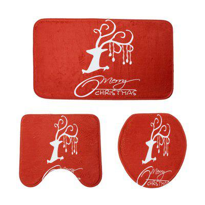 Christmas Decoration Toilet Carpet Three-Piece Combination Mat