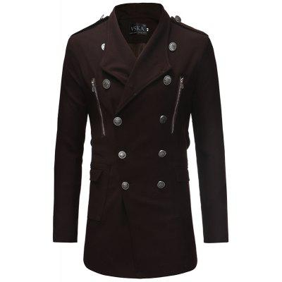 2018 Double-Breasted Large Lapel Men'S Casual Slim Long Woolen Trench Coat