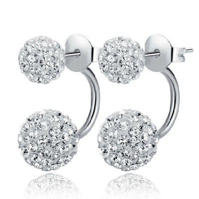 Women'S Minimalist Shiny Rhinestone Double Ball Stud Earrings