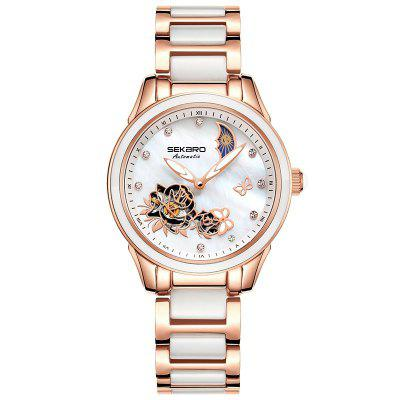 Sekaro 2839 Ceramic Butterfly Design Mechanical Sapphire Crystal Female Watches
