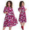 Autumn Plus size Women Dresses Long Sleeve Casual Floral Print Big - CZERWONA RóżA