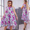 Summer Plus Size Women Dresses Floral Print Casual Ruffles Big Size Clothing - PURPLE