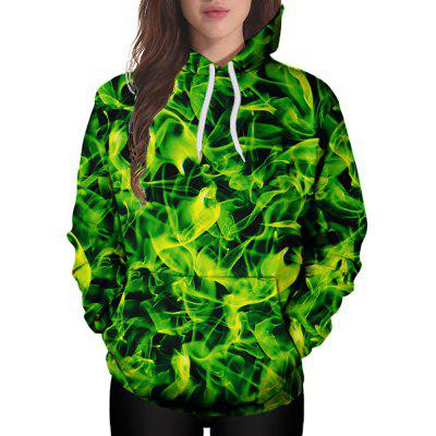 3D Winter Sports Yellow Green Silk Plate Printing Lady Hoodie