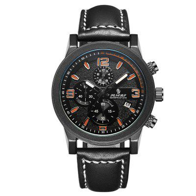 Senors Black Multifunction Sports Mens Watches Chronograph Date Genuine Leather
