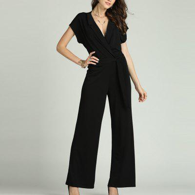 SBETRO Solid Office Jumpsuit with Tie Turn Down Collar Deep V Neck Short Sleeve