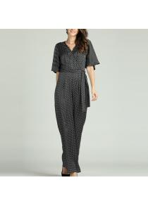 2dff563170d SBETRO Solid Office Jumpsuit with Tie Turn Down Collar Deep V Neck Short  Sleeve.  33.41. +1 (0). SBETRO Polka Dots Jumpsuit V Neck Flare Sleeve  Officewear ...