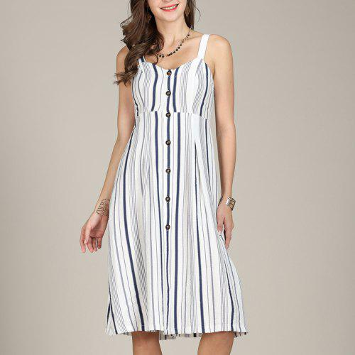 7dabda45741 SBETRO Sling Summer Dress Single-breasted Striped Knee Length