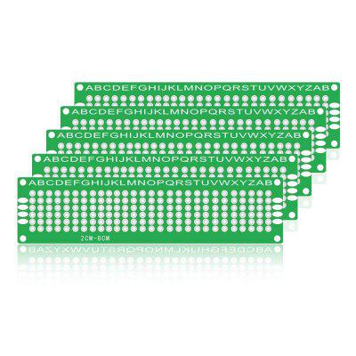 5PCS Green 2.54MM Hole Pitch 8X2CM Double-Sided Glass Fiber PCB Board