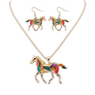 European Style Fashion Colorful Horse Necklace Earring Set