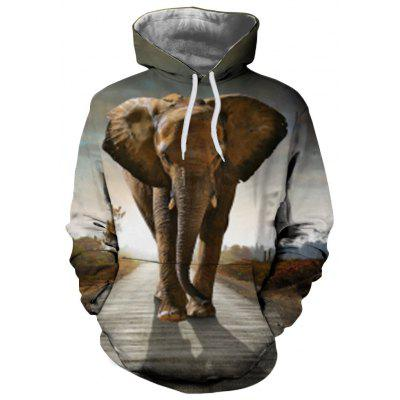 3D Winter Sports Fashion Elephant Print Lady Hoodie