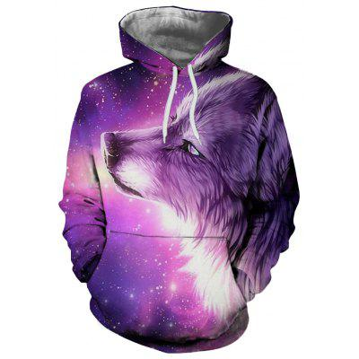 Trend Fashion Męski sweter Digital Print Under The Stars of The Wolf Pattern