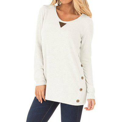 New Round Collar Long Sleeve Button Patch T-Shirt
