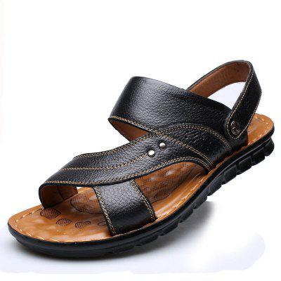 Men's Sandals Men's Leather Beach Shoes Casual Fashion Slippers