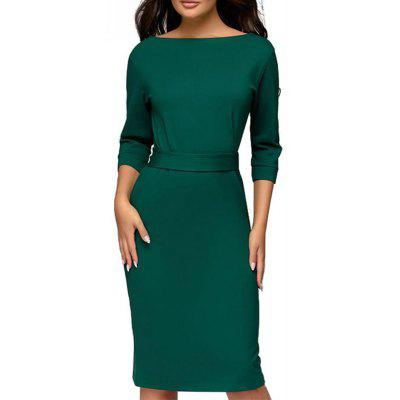 Autumn Winter Ladies Dresses 2018 Work Pencil Dress Long Sleeve Midi Slim Women