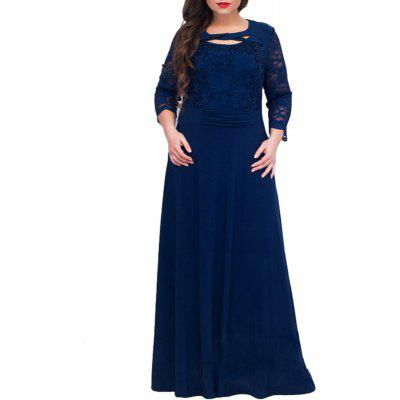 Fashion 2018 Lace Women Dress Plus Size Elegant Long Dress