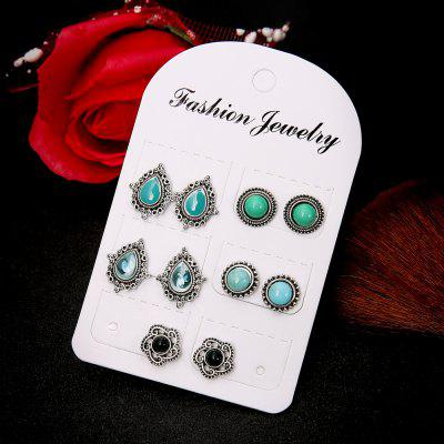 5 Pairs of Jewellery Dazzling Sapphire Bohemia Wind Earrings