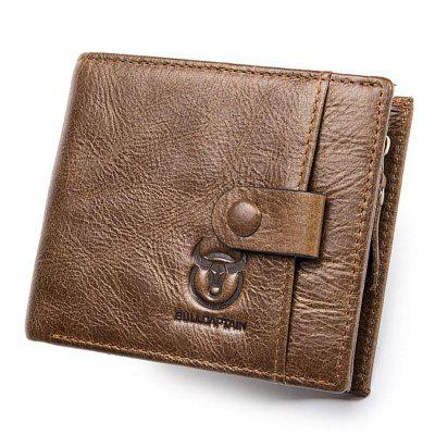 Genuine Leather Men Wallet Small Zipper Male Short Coin Purse Card Holder