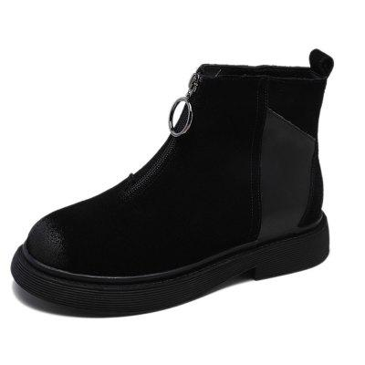 Women'S Add Wool Zippered Retro British Low Heel Flat Ankle Boot